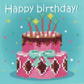 Birthday Cake Greeting Card Kit Diamond Painting By Vervaco