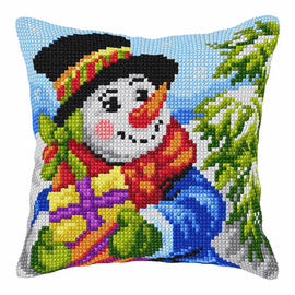 Snowman  Large Cushion Cross Stitch Kit By Vervaco
