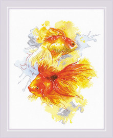 Goldfishes Counted Cross Stitch Kit By Riolis
