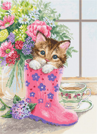 Pretty Kitten Counted Cross Stitch Kit By Luca S