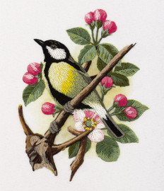Great-Tit on a Branch Freestyle Embroidery Kit by Panna