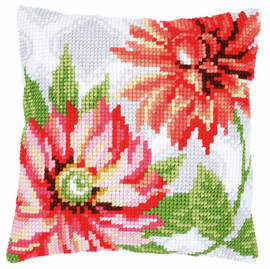Pink Flowers Chunky Cushion Cross Stitch Kit by Vervaco