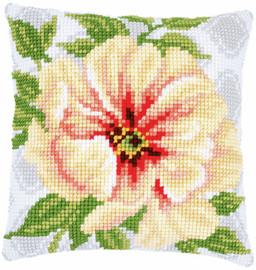 Soft Orange Flower Chunky Cushion Cross Stitch Kit by Vervaco