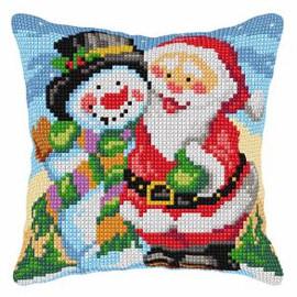 Cross Stitch Kit: Cushion: Large: Santa Claus & Snowman by Orchidea