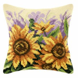 Cross Stitch Kit: Cushion: Large: Sunflowers on Meadow by Orchidea