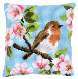 Robin & Blossoms Chunky Cushion Counted Cross Stitch Kit by Vervaco