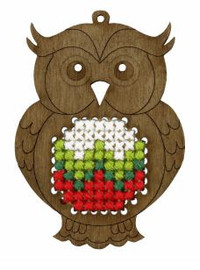 Cross Stitch Kit: Plywood Ornament: Owl by Orchidea