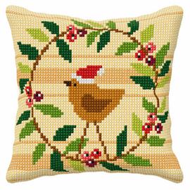 Christmas Wreath Large Cushion Cross Stitch Kit By Orchidea