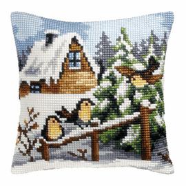 Winter Perch Large Cushion Cross Stitch Kit By Orchidea