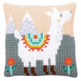 Lovely Llama Cushion Cross Stitch Kit By Vervaco