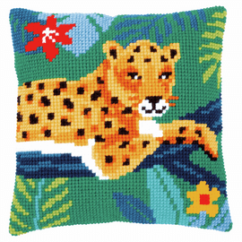 Leopard Cushion Counted Cross Stitch Kit By Vervaco