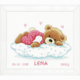 Snoozing Teddy Bear Birth Record Counted Cross Stitch Kit By Vervaco