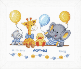Animal Cheer Birth Record Counted Cross Stitch Kit By Vervaco