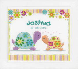 Colourful Turtles Birth Record  Counted Cross Stitch Kit by Vervaco