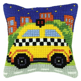 Taxi Cross Stitch Small Cushion Kit by Orchidea