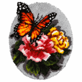 Floral Butterfly Latch Hook Rug Kit by Vervaco