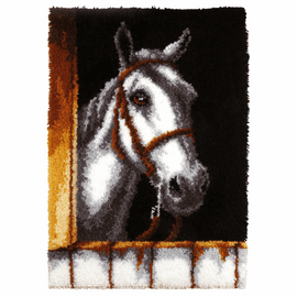 White Horse Latch Hook Rug Kit by Vervaco