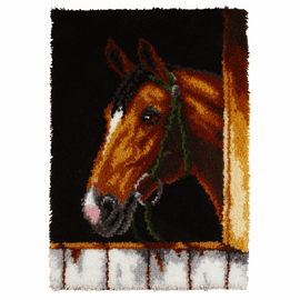 Bay Horse Head Latch Hook Rug Kit by Vervaco