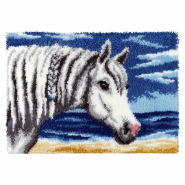 White Horse Head Latch Hook Rug Kit by Vervaco