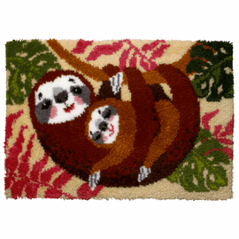 Sloth Family Latch Hook Rug Kit by Vervaco