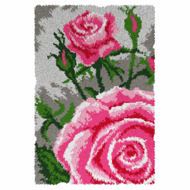 Pink Roses Latch Hook Rug Kit by Orchidea