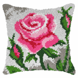 Pink Roses latch Hook Rug Cushion Kit by Orchidea