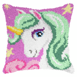 Unicorn Cushion Latch Hook Rug Kit By Orchidea