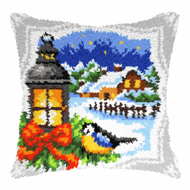 Lantern and Blue Tit Latch Hook Rug Kit By Orchidea