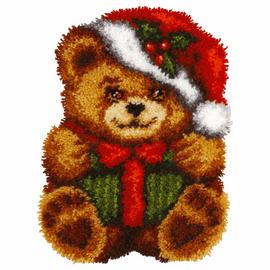 Christmas Bear Shaped Latch Hook Rug Kit by Orchidea