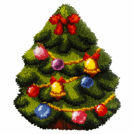 Christmas Tree Shaped Latch Hook Rug Kit by Orchidea