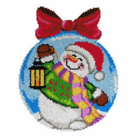 Snowman Round Latch Hook Rug Kit by Orchidea