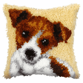 Small Jack Russell Latch Hook Cushion Kit By Orchidea