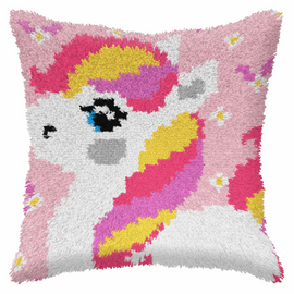 Small Pink Pony Latch Hook Cushion Kit By Orchidea