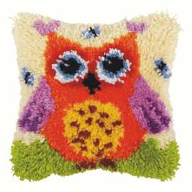 Small Red Owl Latch hook Rug Cushion Kit by Orchidea