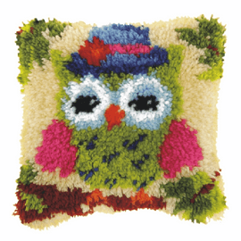 Small Green Owl Latch Hook Rug Kit