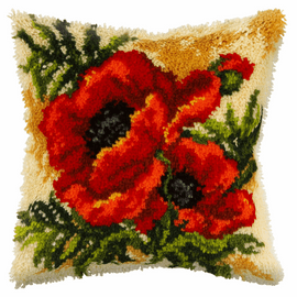 Large Poppies Latch Hook Rug Kit By Orchidea