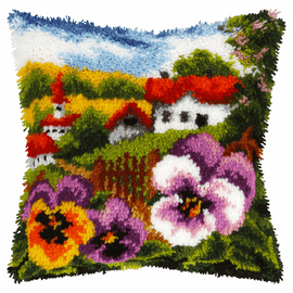 Landscape with Pansies Latch Hook Kit by Orchidea