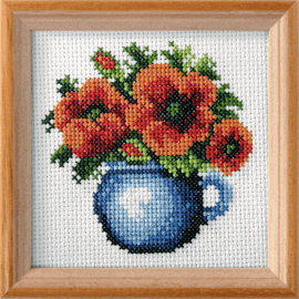 Printed Poppies Cross Stitch Kit By Orchidea