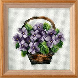 Violets  Printed Cross Stitch Kit by Orchidea