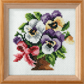 Pansies Printed Cross Stitch Kit by Orchidea