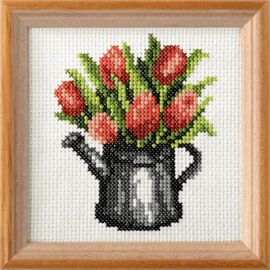 Tulips Printed Cross Stitch Kit By Orchidea