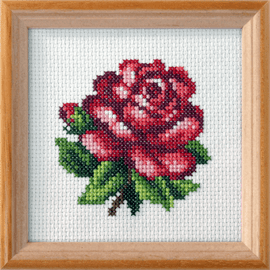 Red Rose Printed Cross Stitch Kit By Orchidea