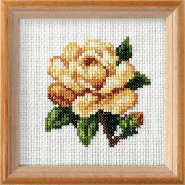 Yellow Rose Printed Cross Stitch Kit By Orchidea