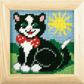 My First Printed Embroidery Kit Cat By Orchidea