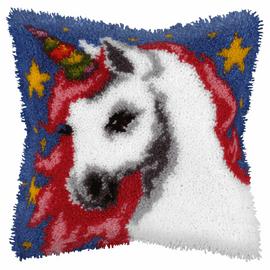Unicorn on Blue Latch Hook Kit By Orchidea