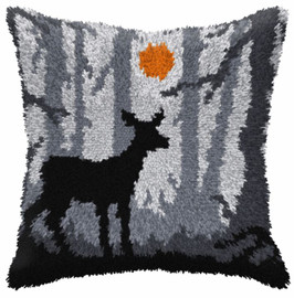 Deer at Night Large Cushion Latch Hook Kit by Orchidea