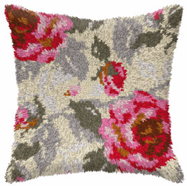 Roses Large Cushion Latch Hook Kit by Orchidea