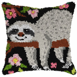 Sloth 1 Large Cushion Latch Hook Kit by Orchidea