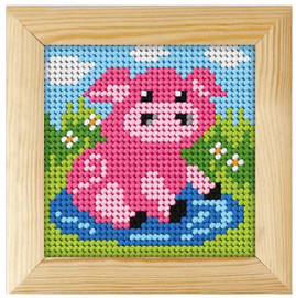 Printed Needlepoint Kit: Pig by Orchidea