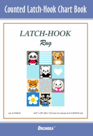 Pets on Blue Background Latch Hook Chart by Orchidea